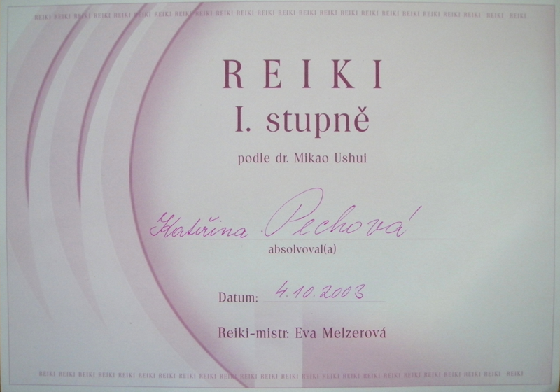 Certifikát Reiki 1. stupeň