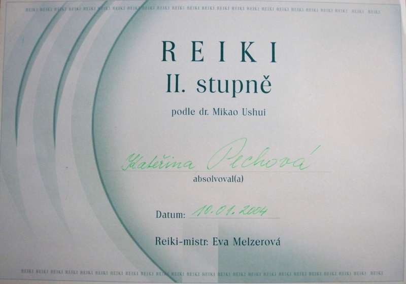 Certifikát Reiki 2. stupeň