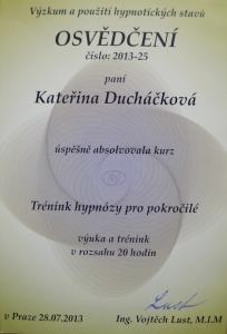 Certifikát Trénink hypnózy pro pokročilé