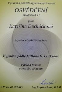 Certifikát Hypnóza podle Miltona H. Ericksona
